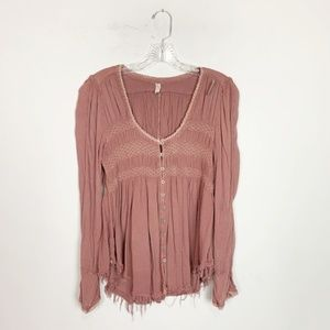 Free People mauve pink gauze long sleeve top small